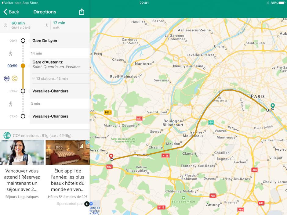 Print da tela do aplicativo com trajeto do trem