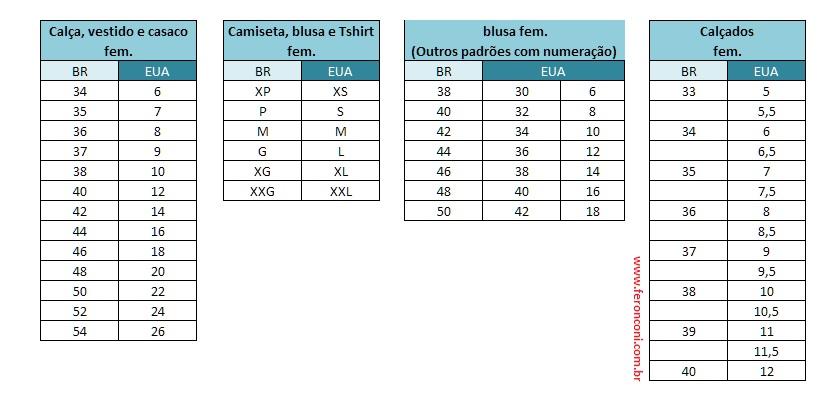 Tabela de conversão da numeração de roupas Brasil x EUA - Fê Ronconi 27526b9be1a